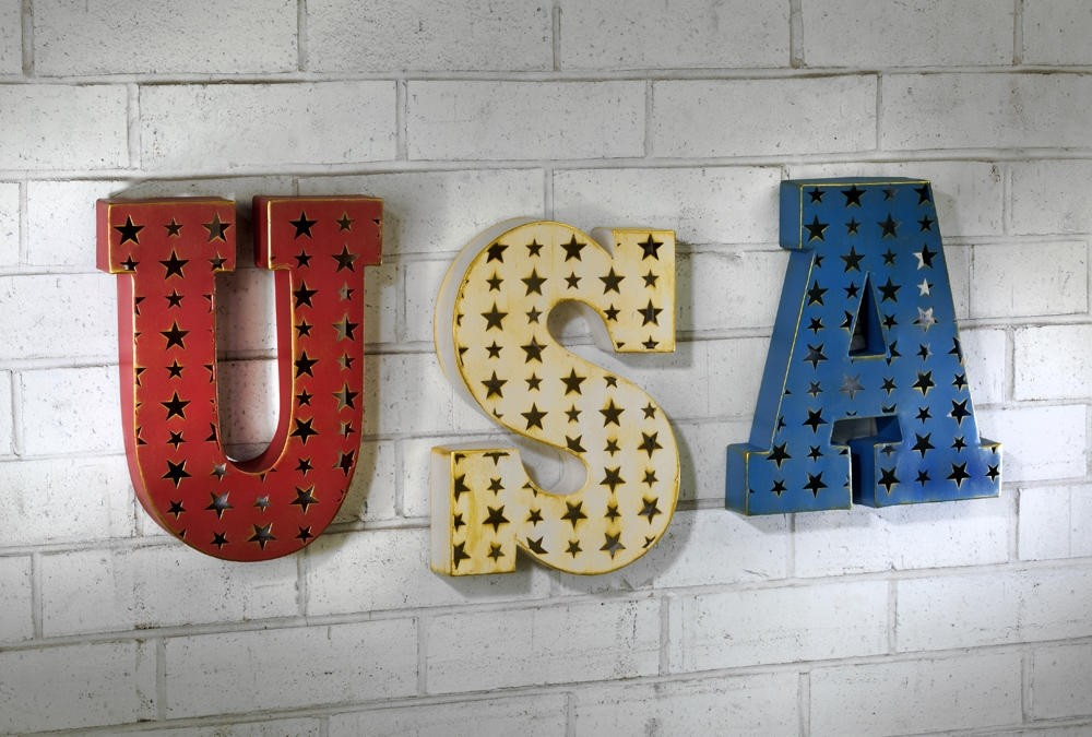 "Patriotic ""USA"" Metal 3D Wall Art"