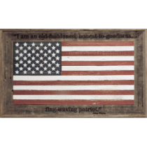 "27 X 45 ""Flag Waving Patriot"" Rustic Barnwood American Flag"