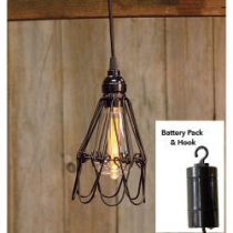 """Hanging Adjustable Battery Cage LED Lamp, 7.5"""""""