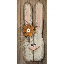 Lath Bunny Head w/Metal Flower