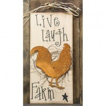 Live, Laugh, Farm Sign w/Rooster