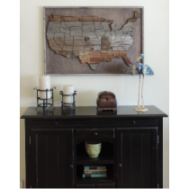 "Large  (37"" x 25"") Reclaimed Wood Art Wooden USA Map"