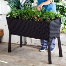 Modern Dark Brown Resin Wicker Raised Garden Bed Planter with Water Indicator