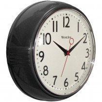 "Westclox 9.5"" 1950's Retro Black Case Convex Glass Clock"