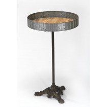 Raw Metal and Wood Table w/ Iron Stand